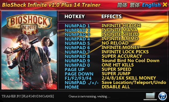 BIOSHOCK INFINITE +14 TRAINER [FLING]