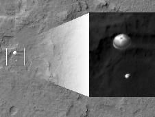 Curiosity and its parachute are in the center<br /> of the white box; the inset image is a cutout<br /> of the rover stretched to avoid saturation.<br /> Image credit: NASA/JPL-Caltech/Univ. of Arizona <br /> <a href='http://www.nasa.gov/mission_pages/msl/multimedia/pia15978b.html' class='bbc_url' title='External link' rel='nofollow external'> � Full image and caption</a><br /> <a href='http://www.nasa.gov/mission_pages/msl/multimedia/gallery-indexEvents.html' class='bbc_url' title='External link' rel='nofollow external'>� Curiosity latest images</a>